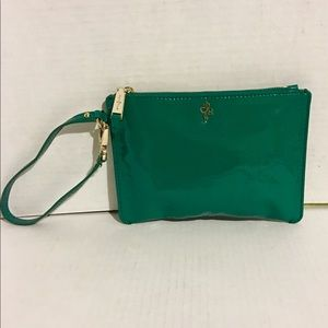 Cole Haan green leather wristlet bag